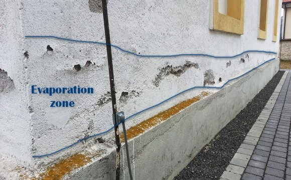 Evaporation zone on wall