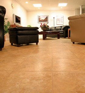 ThermalDry® Flooring System installed in a finished basement